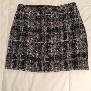 JCREW size 0 plaid mini skirt with metallic thread